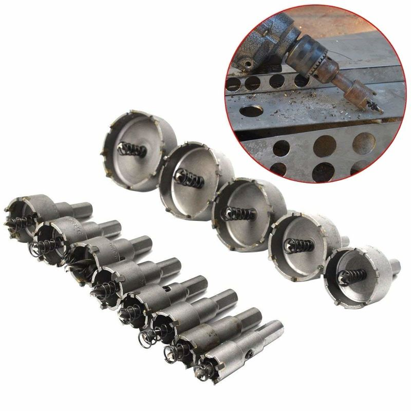 13pcs Tungsten Carbide Tip TCT Hole Saw Cutter For Stainless Steel Plate